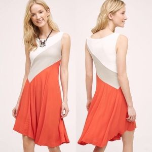 Anthropologie Maeve Cameroon Color Block Dress Lg